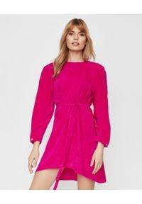 ISABEL MARANT - Różowa sukienka Velen. Kolor: wielokolorowy, różowy, fioletowy. Materiał: sztruks, materiał. Sezon: wiosna. Typ sukienki: asymetryczne. Długość: mini