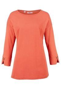 Shirt oversize o waflowej fakturze, rękawy 3/4 bonprix miedziany. Kolor: pomarańczowy