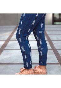 Niebieskie spodnie Moda Size Plus Iwanek krótkie, na jesień, do pracy, z aplikacjami