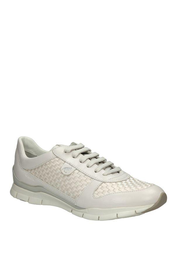 Geox - sportowe geox d52f2a ozi43. Okazja: na co dzień. Kolor: biały. Materiał: skóra, materiał. Szerokość cholewki: normalna