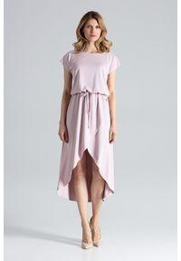 Figl - Różowa Ciekawa Sukienka z Wiązanymi Troczkami w Pasie. Kolor: różowy. Materiał: wiskoza, elastan