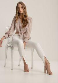 Renee - Białe Spodnie Cygaretki Bathusi. Kolor: biały