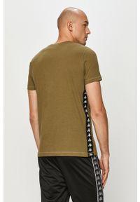Zielony t-shirt Kappa z aplikacjami, casualowy, na co dzień