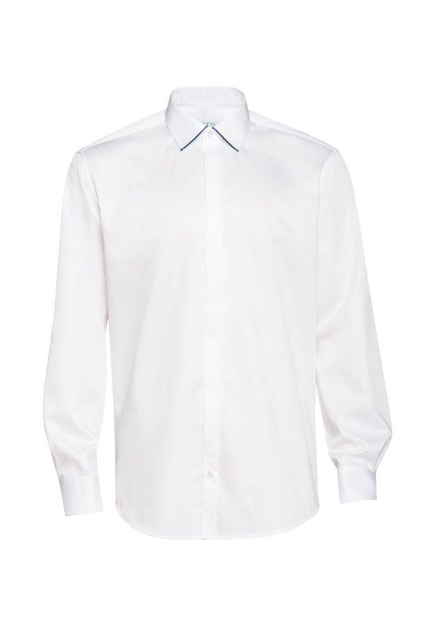 Biała elegancka koszula VEVA na spotkanie biznesowe, z długim rękawem
