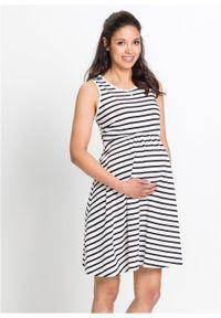Czarna sukienka bonprix na lato, moda ciążowa, w paski