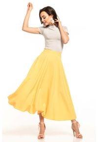 Tessita - Żółta Midi Spódnica z Koła. Kolor: żółty. Materiał: poliester, elastan