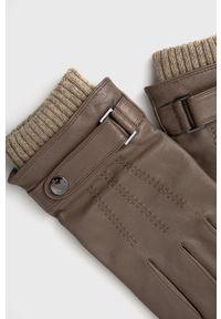 BOSS - Boss - Rękawiczki skórzane. Kolor: brązowy. Materiał: skóra