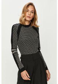 Czarny sweter Karl Lagerfeld długi, z długim rękawem