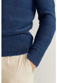 Niebieski sweter Mango Man casualowy, z okrągłym kołnierzem, na co dzień