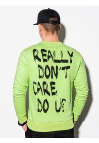 Ombre Clothing - Bluza męska bez kaptura z nadrukiem B1215 - zielona - XXL. Typ kołnierza: bez kaptura. Kolor: zielony. Materiał: poliester, bawełna. Wzór: nadruk
