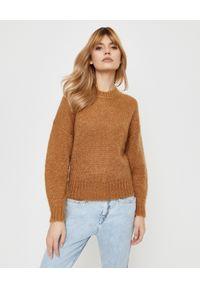 ISABEL MARANT - Camelowy sweter Elise. Okazja: na co dzień. Kolor: beżowy. Materiał: prążkowany, wełna. Długość rękawa: długi rękaw. Długość: długie. Styl: casual