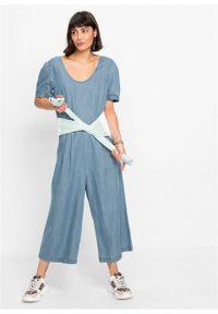 "Kombinezon dżinsowy culotte TENCEL™ Lyocell bonprix niebieski ""bleached"". Kolor: niebieski. Materiał: lyocell"