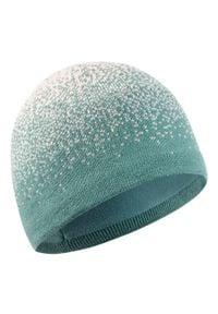 WEDZE - Czapka narciarska MIXUP dla dzieci. Kolor: zielony. Materiał: poliester, elastan, akryl, materiał. Wzór: nadruk