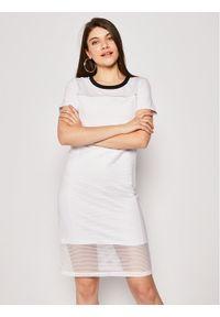 Biała sukienka Liu Jo prosta, casualowa, na co dzień
