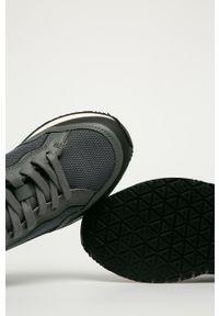 Szare sneakersy Guess Jeans z okrągłym noskiem, na sznurówki, z cholewką