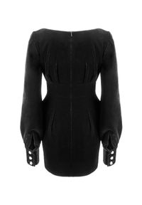LA MANIA - Aksamitna sukienka Delano. Kolor: czarny. Typ sukienki: kopertowe. Styl: wizytowy. Długość: mini #2