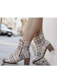 Beżowe botki Zapato wąskie, z cholewką, eleganckie