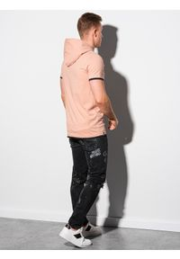 Ombre Clothing - T-shirt męski z kapturem bez nadruku S1376 - brzoskwiniowy - XXL. Okazja: na co dzień. Typ kołnierza: kaptur. Kolor: pomarańczowy. Materiał: bawełna, jersey, dzianina. Styl: klasyczny, casual