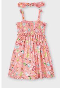 Różowa sukienka Mayoral rozkloszowana, na ramiączkach, mini
