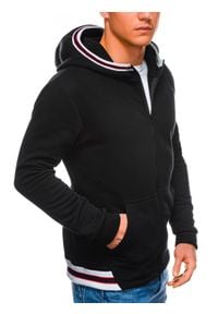Ombre Clothing - Bluza męska rozpinana z kapturem B1210 - czarna - XL. Typ kołnierza: kaptur. Kolor: czarny. Materiał: poliester, bawełna. Wzór: paski