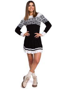 MOE - Czarna Świąteczna Sukienka Swetrowa z Obniżoną Talią. Kolor: czarny. Materiał: akryl. Styl: wizytowy