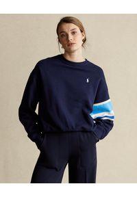Ralph Lauren - RALPH LAUREN - Bluza w kolorze ciemnego granatu. Typ kołnierza: polo. Kolor: niebieski. Materiał: materiał. Długość rękawa: długi rękaw. Długość: długie. Wzór: nadruk