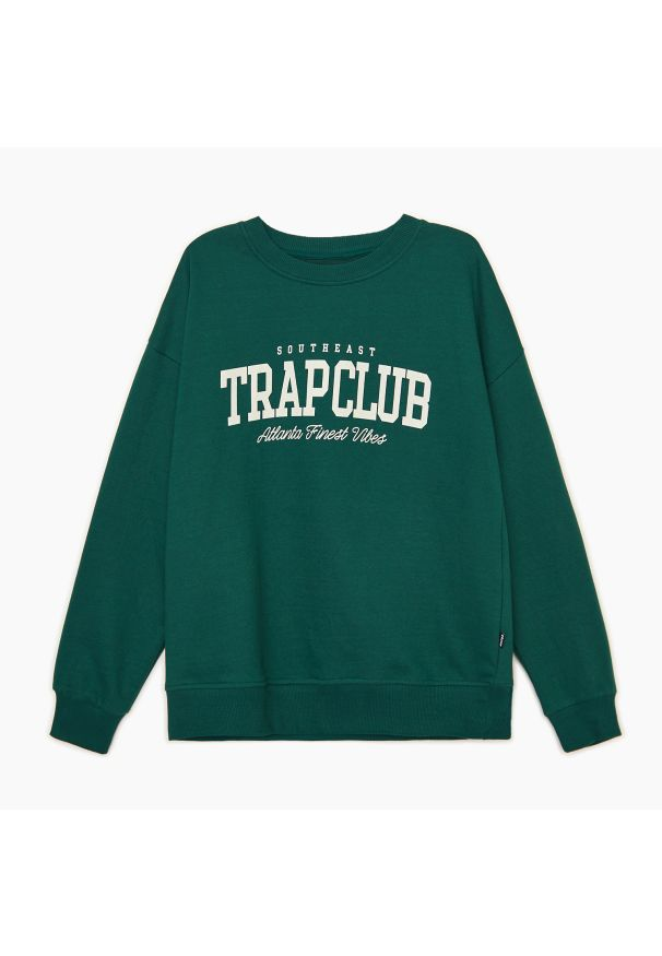 Cropp - Bluza z nadrukiem - Turkusowy. Kolor: turkusowy. Wzór: nadruk