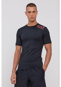 EA7 Emporio Armani - T-shirt. Okazja: na co dzień. Kolor: czarny. Materiał: dzianina, materiał. Wzór: gładki. Styl: casual