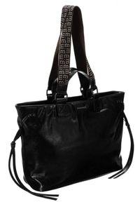 Czarna torebka Monnari klasyczna, skórzana, z aplikacjami