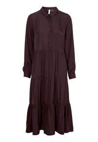 Soyaconcept Sukienka Pamela czerwonobrązowy female brązowy/czerwony L (42). Typ kołnierza: kołnierzyk koszulowy. Kolor: czerwony, brązowy, wielokolorowy. Materiał: tkanina. Długość rękawa: długi rękaw. Typ sukienki: koszulowe. Styl: elegancki