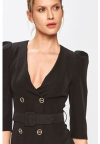 Czarna sukienka Silvian Heach prosta, na co dzień, biznesowa