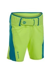 OLAIAN - Spodenki Surfing Bs 550 Dla Dzieci. Kolor: żółty. Materiał: poliester, elastan, materiał