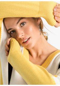 Żółta sukienka bonprix z długim rękawem, z dekoltem w serek