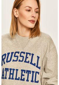 Szara bluza Russell Athletic casualowa, z aplikacjami, na co dzień, z okrągłym kołnierzem