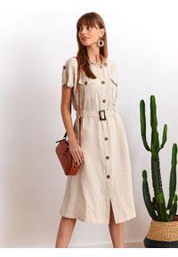 Beżowa sukienka TOP SECRET z krótkim rękawem, na co dzień