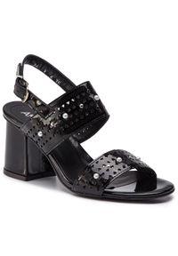 Czarne sandały Ann Mex casualowe, na co dzień, z aplikacjami