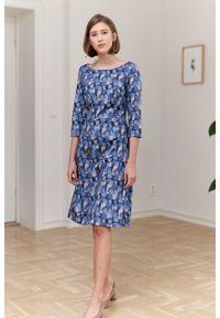 Marie Zélie - Sukienka Asteria Lacrima. Materiał: bawełna, satyna, skóra, materiał. Wzór: gładki. Typ sukienki: trapezowe. Styl: klasyczny