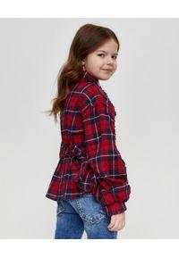DSQUARED2 KIDS - Koszula w kratę z falbanami 8-16 lat. Okazja: na co dzień, na uczelnię. Kolor: czerwony. Materiał: jeans. Długość rękawa: długi rękaw. Długość: długie. Wzór: aplikacja. Sezon: lato. Styl: casual