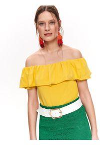Żółta bluzka TOP SECRET krótka, na wiosnę, elegancka, w kolorowe wzory