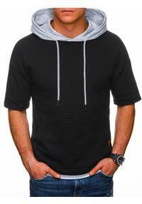 Szara bluza Ombre Clothing z krótkim rękawem, krótka, melanż