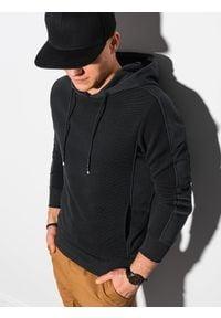 Ombre Clothing - Bluza męska z kapturem B1155 - czarna - XXL. Typ kołnierza: kaptur. Kolor: czarny. Materiał: dresówka, bawełna, jeans, dzianina, poliester