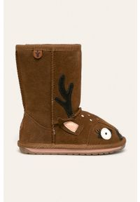 Brązowe buty zimowe EMU Australia na zimę, z cholewką