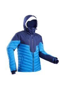 WEDZE - Kurtka narciarska 900 Warm męska. Typ kołnierza: kołnierzyk stójkowy. Kolor: niebieski, biały, wielokolorowy. Materiał: puch, materiał. Sport: narciarstwo