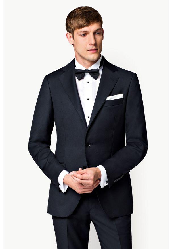 Lancerto - Marynarka Business Mix Czarna. Kolor: czarny. Materiał: poliester, wiskoza, tkanina, wełna. Styl: wizytowy, klasyczny