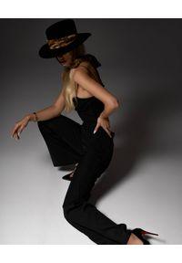 LESHKA - Kapelusz z apaszką w panterkę Mystique. Kolor: czarny. Materiał: jedwab. Wzór: motyw zwierzęcy