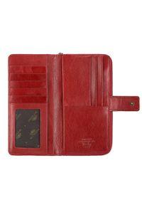 Wittchen - Damski portfel skórzany na napę i na suwak. Kolor: czerwony. Materiał: skóra