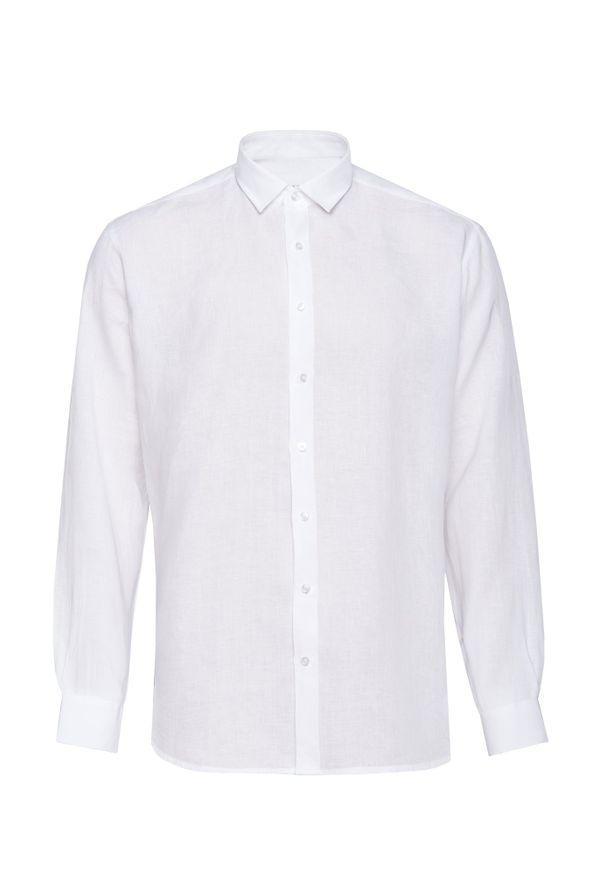 Biała koszula casual VEVA z długim rękawem, na lato, w jednolite wzory, długa