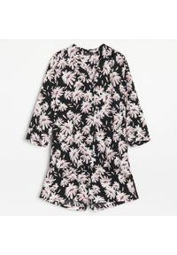 Wiskozowa piżama z szortami - Czarny