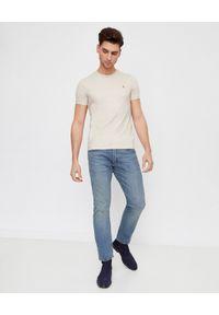 Ralph Lauren - RALPH LAUREN - Męska koszulka Slim Fit. Typ kołnierza: polo. Kolor: beżowy. Materiał: bawełna. Wzór: haft, kolorowy
