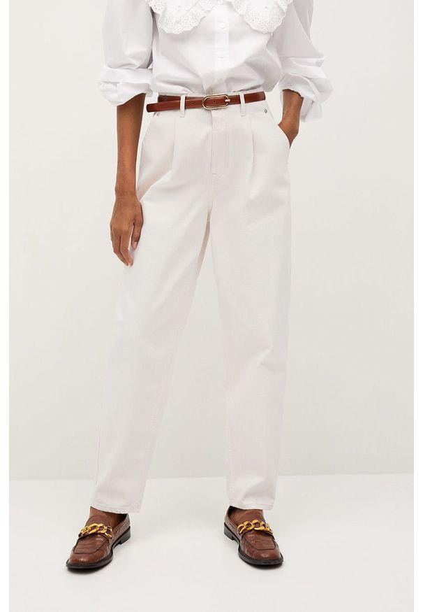 Białe jeansy mango z podwyższonym stanem